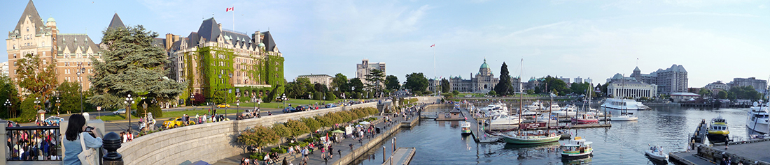 Panorama image of Inner Harbour in Victoria BC
